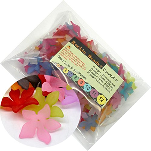 Rockin Beads Brand, 150 Frosted Mix Lily Flower Acrylic Beads Bead 28mm (1-1/8 Inch)
