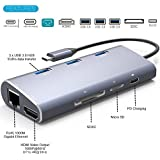 USB C Hub Aluminum Multi-Port Adapter with 4K HDMI,Gigabit Ethernet, Type C PD Charger Port, SD/Micro SD Card Slots, 3 USB 3.0 Ports for Apple MacBook Pro,Dell XPS 13, Google Chromebook(Space Gray)