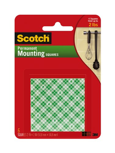 (Scotch Indoor Mounting Squares, 2-inch x 2-inch, White, 6-Squares (111-LRG))