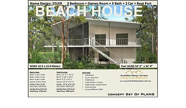 Amazon.com: Beach House Plan | 3 Bedroom house plan no- 253KR ...