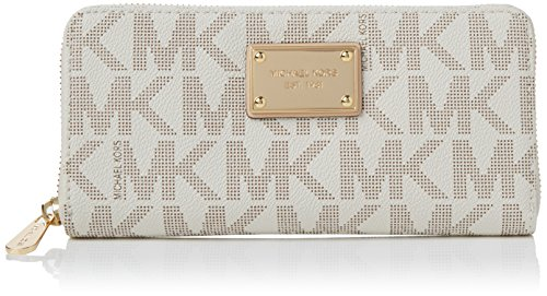 3b08f855769eff MICHAEL Michael Kors Mk Logo Zip Around Continental,Vanilla,one size