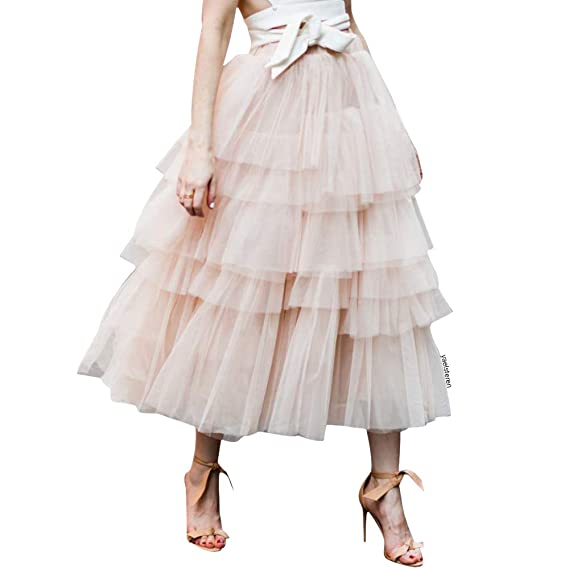 394e51fb568294 Chicwish Women's Nude Pink Tiered Layered Mesh Tulle Tutu A-line Midi Skirt:  Amazon.ca: Clothing & Accessories