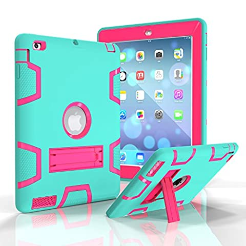 iPad 2 / 3 / 4 Case, Beimu Full-body Heavy Duty Armor Defender 3in1 Shock-Absorption / High Impact Resistant PC+Silicone Case with Built-in Kickstand for Apple iPad 2nd / 3rd / 4th (Ipad Fourth Generation Case Speck)
