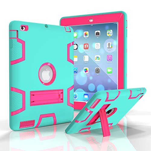 iPad 2/3/4 Case, Dooge Three Layers PC&Silicon Armor Defender Heavy Duty Shock-Absorption Rugged Hybrid Full Body Protective Case with Kickstand for Apple iPad 2/iPad 3/iPad 4 (Incipio Ipad Case 3rd Generation)