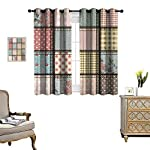 Anyangeight Shabby Chic Window Curtain Fabric Gentle Summer Flora Hyacinths BlackBerry and Peonies Victorian Style Vegetation Drapes for Living Room W55 x L39 Multicolor
