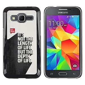 Longitud Cita divertida Texto 3D Vida Inspiring- Metal de aluminio y de plástico duro Caja del teléfono - Negro - Samsung Galaxy Core Prime