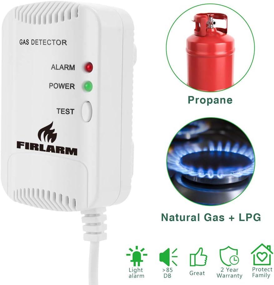 Detector de Gas, Alarma de Gas LPG/Gas Natural/Ciudad, Monitor de Gas butano propano de metano, Advertencia de luz estroboscópica Monitor, Sensor de Fugas de Gas enchufable (Blanco)
