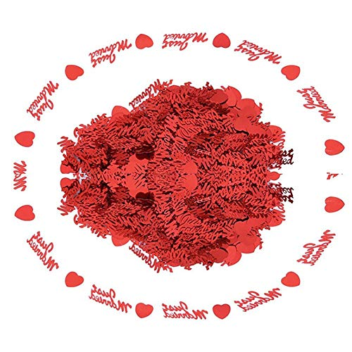 (skoqjFQSen Just Married Love Heart Foil Sequins Throwing Confetti Scatter Wedding Decor - Red)