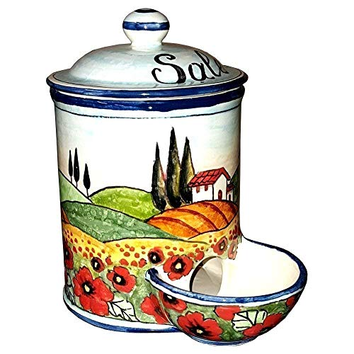 (CERAMICHE D'ARTE PARRINI- Italian Ceramic Jar Salt Holder Decorated Poppies Landscape Hand Painted Made in ITALY Tuscan Art Pottery)