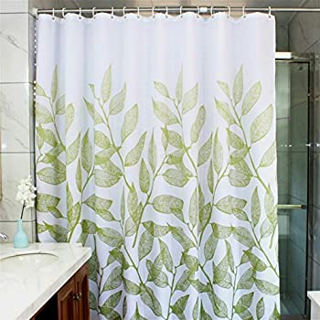 Amazon.com: MangGou Leaves Fabric Shower Curtain,Waterproof ...