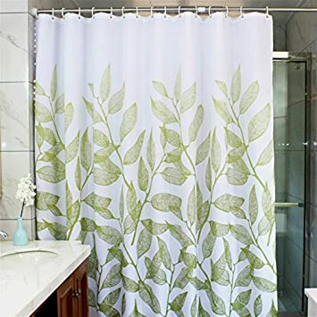 MangGou Leaves Fabric Shower CurtainWaterproof Polyester Bathroom CurtainDecorative Curtain Liner With