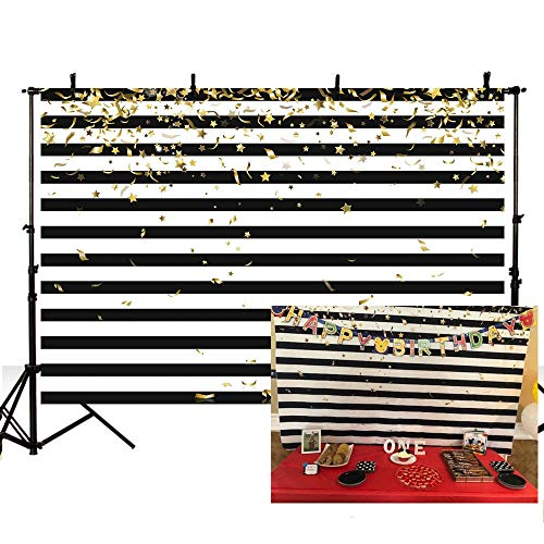 MEHOFOTO Gold Black and White Stripe Photo Booth Background Props Gold Stars Ribbon Birthday Baby Shower Party Decorations Banner Backdrops for Photography 7x5ft