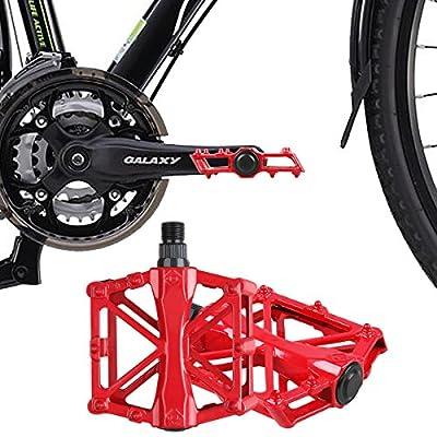 Bicycle Pedals - Aluminum Alloy Mountain Bike Pedals - Flat Platform Pedals 16 Anti-Skid Pins - Universal 9/16 Inch Road Pedals BMX/MTB Bike, City Bike