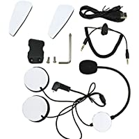 Motorcycle Intercom Accessories - Earphone Microphone,Audio Cable,Charger Cable,Mounting Clip and Velcro Kits