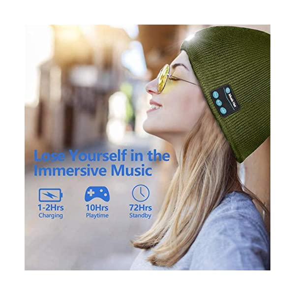 51aw8jrO95L ATNKE LED beleuchtete Bluetooth-Beanie-Kappe, wiederaufladbare USB-Musikalische Laufmütze mit extrem hellem 4-LED-Licht…