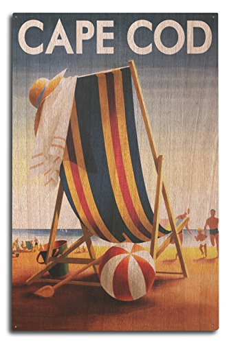 Cape Cod Beach Chair - Cape Cod, Massachusetts - Beach Chair and Ball (10x15 Wood Wall Sign, Wall Decor Ready to Hang)