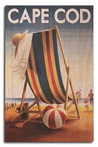 Cape Cod, Massachusetts - Beach Chair and Ball (10x15 Wood Wall Sign, Wall Decor Ready to (Cape Cod Beach Chair)