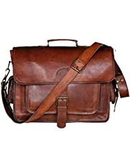 HONEY LEATHER EXPORTERS 16 Inch Leather Laptop Messenger Briefcase Bag For Men And Women