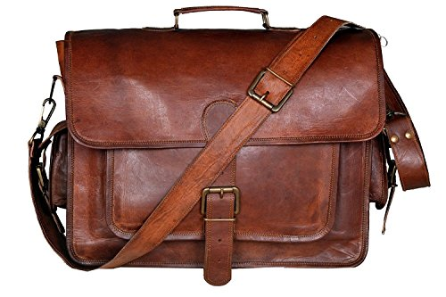 HONEY LEATHER EXPORTERS 16 Inch Leather Laptop Messenger Briefcase Bag For Men And - Honey Green Case