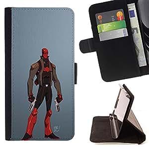 BullDog Case - FOR/Samsung Galaxy Note 4 IV / - / VILLAIN SUPERHERO RED GUNS COSTUME MASK /- Monedero de cuero de la PU Llevar cubierta de la caja con el ID Credit Card Slots Flip funda de cuer