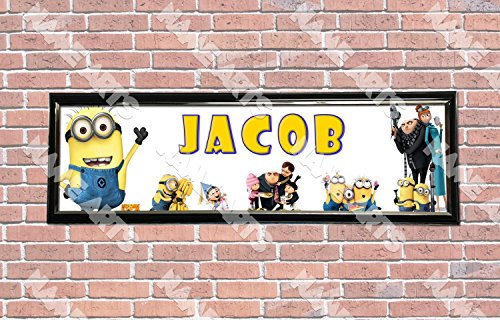 Personalized / Customized Despicable Me 2 Minions Movie Name Poster with Frame - Home Wall Decor Birthday Party Door Banner