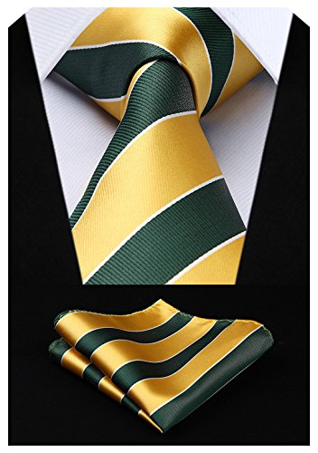 HISDERN Extra Long Striped Tie Handkerchief Men's Necktie & Pocket Square Set (Gold & Green)