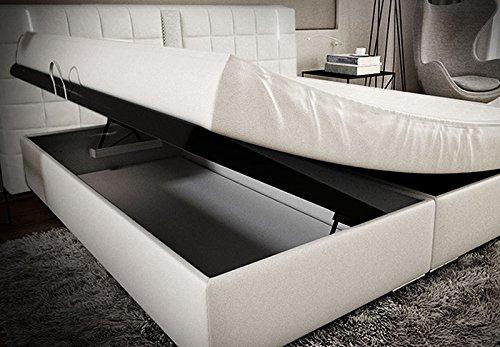 Boxspringbett 180x200 Weiß mit Bettkasten LED Kopflicht Bett Hotelbett TÜV geprüft Ajna Lift