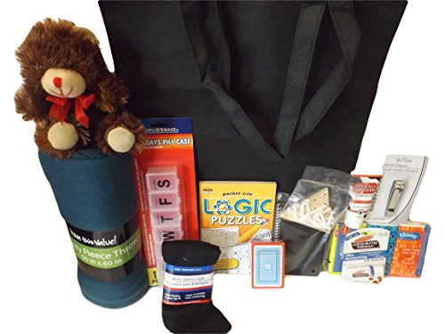 Male Cancer Survivor Care Package Gift Bundle - 14 Items: Tote, Book Puzzles, Socks, Tissues, Hand Cream, Lip Balm, Pill Box and more