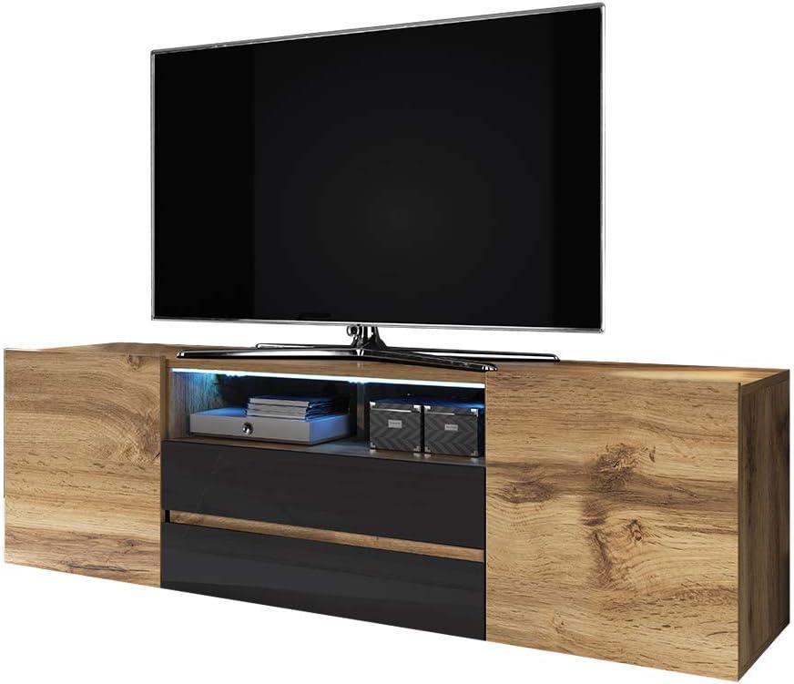 Wotan Eiche Matt//Grau Hochglanz stehend mit LED-Beleuchtung 137 cm Selsey TV-Lowboard BROS