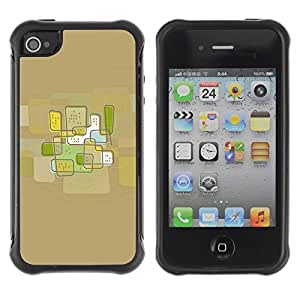 LASTONE PHONE CASE / Suave Silicona Caso Carcasa de Caucho Funda para Apple Iphone 4 / 4S / City Abstract Art Brown