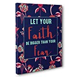 Faith Bigger Than Fears Motivational Quote CANVAS Wall Art Home Décor
