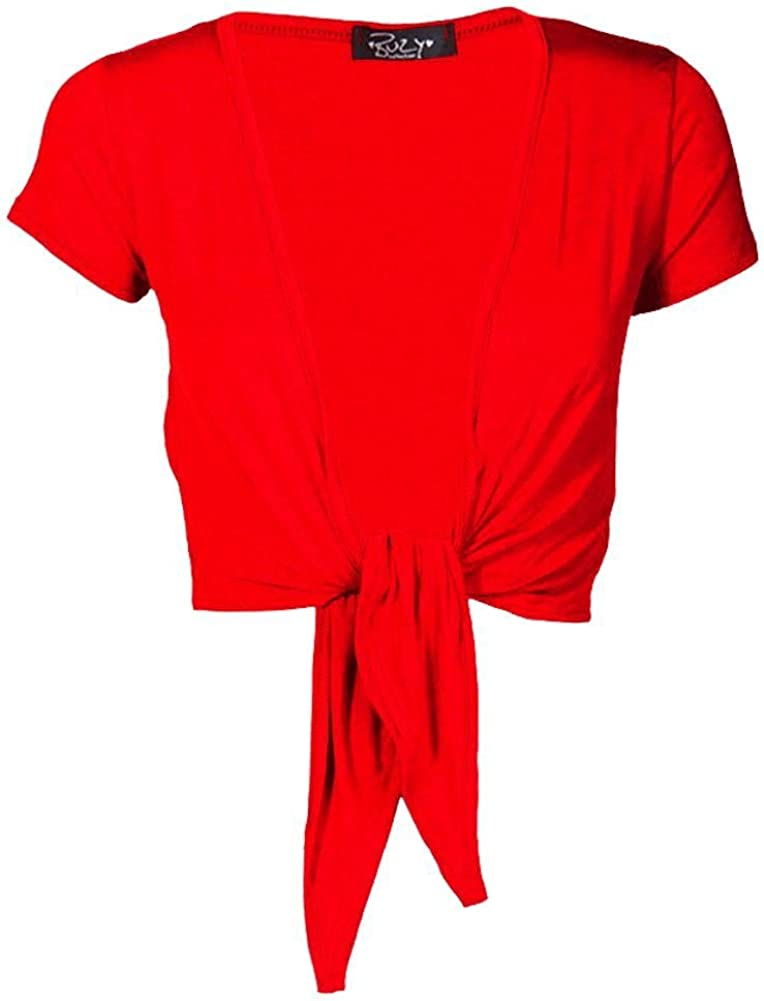 Janisramone Frauen Damen Neu Kurz Kappe /Ärmel Plain Bolero Vorderseite Binden Achselzucken beschnitten Dehnbar Cardigan Top