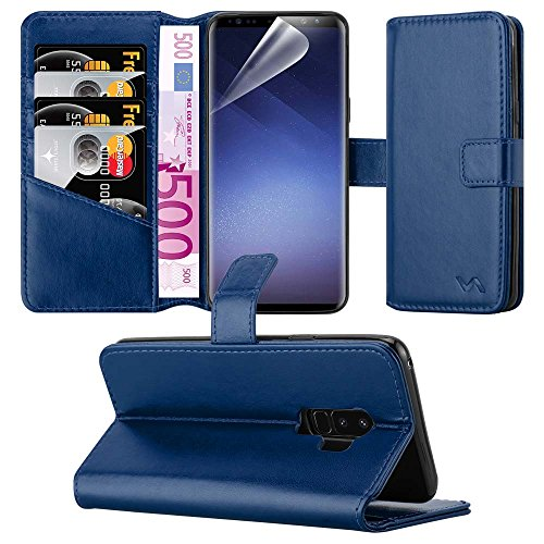 Samsung Galaxy S9 Plus Case - Combines 3 Card Design and Magnetic Closing clasp Card Case Cover Premium Leather with Screen Protector, Microfibre Polishing Cloth for S9 Plus (Blue)