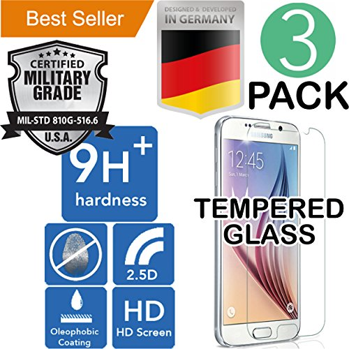 Samsung S6 [3Pack] PREMIUM [Bubble Free] Case Friendly [Scratch Shatter Proof] High Definition Ultra Clear [Laser Cut] Oleophobic [9H+ Ballistic] Tempered Glass [Easy Install] Screen Protector