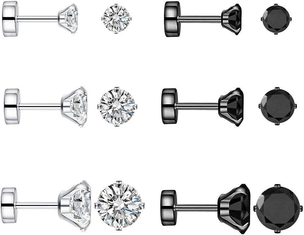 Changgaijewelry 6 Pairs 18g 20g Stainless Steel Black Tiny Cubic Zirconia Studs Earrings for Women Men Cartilage Ear Piercings Helix Set Flat Screw Backs 3mm 4mm 5mm