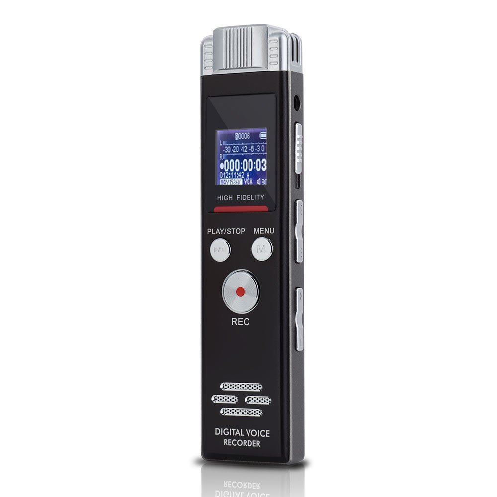 Digital Voice Activated Recorder 8GB Memory 1536Kpbs PCM Audio Recorder with MP3 Player, High Sensitive Microphone, 9664 LCD screen, Bookmark and Segment/Scheduled Record