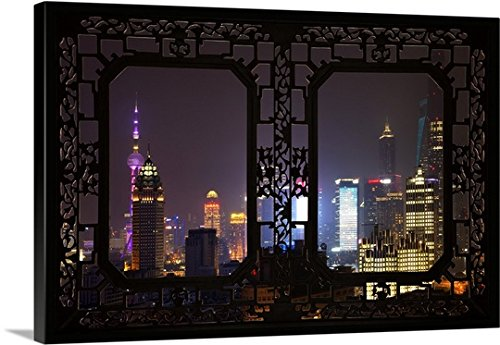 Canvas On Demand Philippe Hugonnard Premium Thick-Wrap Canvas Wall Art Print, 36'' x 24'', entitled 'Asian Window, Shanghai Cityscape at night'