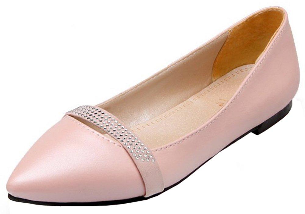 Mofri Women's Comfortable Rhinestone Belt Pointed Toe Low Cut Slip on Flats Shoes (Pink, 12 B(M) US)
