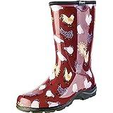 Sloggers Women's Rain and Garden Chicken Print Collection Garden Boots, Size 8, Barn Red