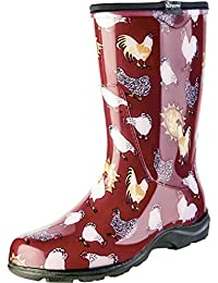 Principle Plastics Sloggers Women's Rain and Garden Chicken Print Collection Garden Boots, Size 10, Barn Red