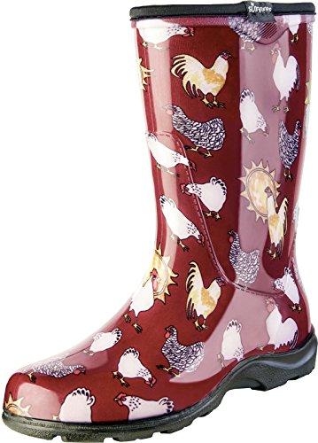 Sloggers Women's Rain and Garden Chicken Print Collection Garden Boots, Size 8, Barn Red (Red Women Boots)