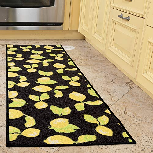 "Ottomanson Collection Contemporary Black Lemons Design Runner (Non-Slip) Kitchen and Bathroom, 20"" X 59"" Area Rug, 20""X59"""