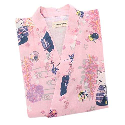 Japanische Stil Frauen Dünne Baumwolle Bademantel Pyjamas Kimono Rock Kleid-A14