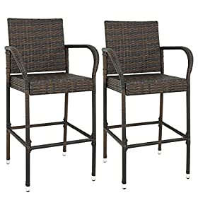 BBBuy Rattan Wicker Bar Stool Outdoor Backyard Chair Patio Furniture with Armrest