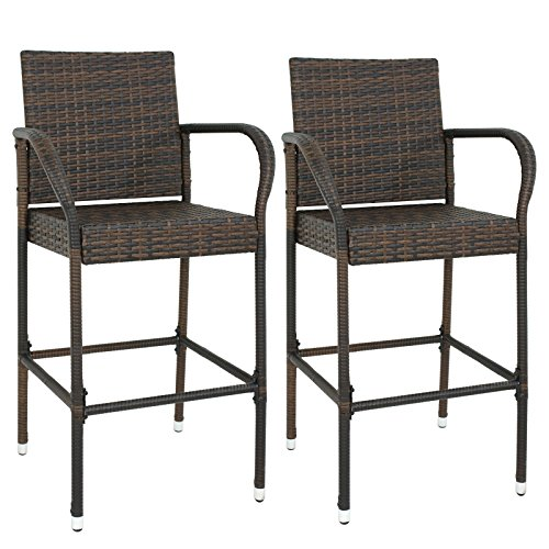 ZENY Wicker Bar Stool with Back Outdoor Rattan Chair, Set of 2 Patio All Weather Pool Iron Frame Barstool Furniture w/Armrest, Brown (Stools Rattan Back High Bar)