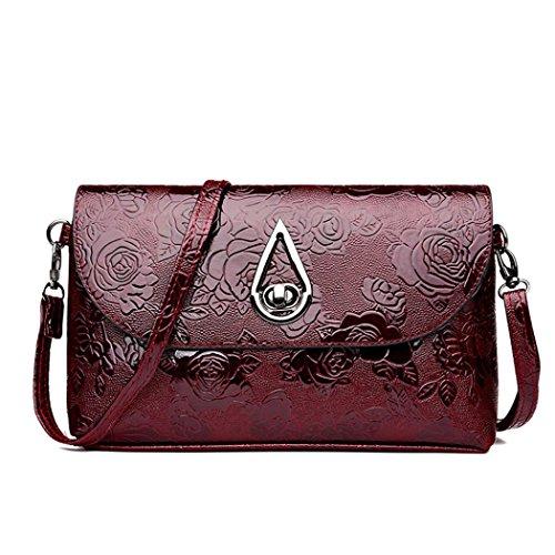 (WILLTOO Womens Shoulder Bag Leather Satchel Tote Vintage Handbag Crossbody&Messenger Backpack Flower Pattern (Red))