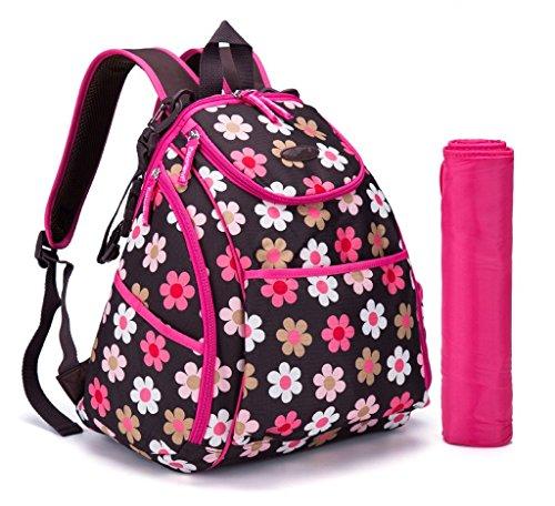 LCY Smart–Mochila saco de cambiador de bebé bolsa de pañales con cambiador y cochecito correas Coffee with Dots Flowers Coffee