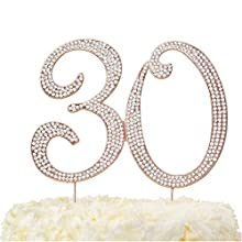 """LOVENJOY with Gift Box Crystal Rhinestone 30 Cake Topper for 30th Birthday or Wedding Anniversary Decoration Rose Gold, 5.8 X 4.5"""""""