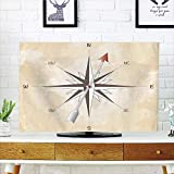 """iPrint LCD TV dust Cover,Compass Decor,Compass Rose with Metal Arrow on Vintage Grungy Background Travel Navigation Art,Beige Red,3D Print Design Compatible 47"""" TV"""