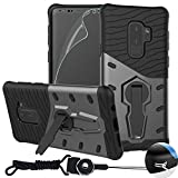 Galaxy S9 Plus Phone Case , BestAlice Hybrid Heavy Duty Protection 360 Rotating Kickstand Armor Case Cover & Full Coverage PET Soft Flexible TPU Screen Protector & Neck Lanyard , Grey